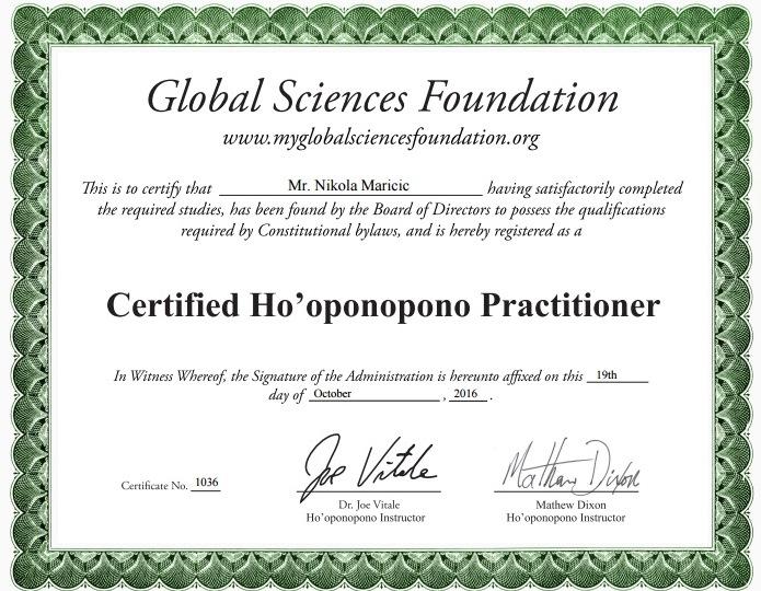 certificate-hooponopono-nikola-maricic